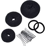 Mudder 3 Pieces Donut Bun Maker Hair Bun Maker Ring Style Bun Maker Set for Chignon Hair Includes Large, Medium and Small (Black)