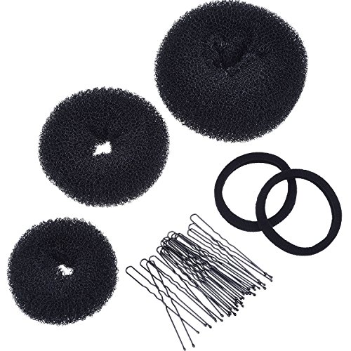 Mudder 3 Pieces Donut Bun Maker Hair Bun Maker Ring Style Bun Maker Set for Chignon Hair Includes Large, Medium and Small (Black)