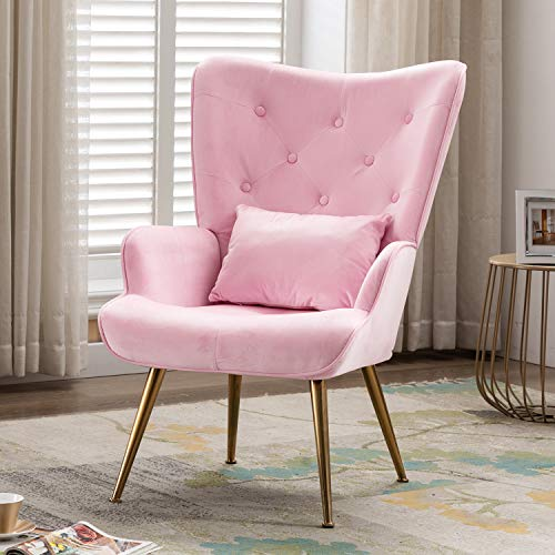 Artechworks Velvet Lounge Chair, High Wingback Dinning Chair with Golden Legs & Pillow, Accent Arm Chairs for Living Dining Room Bedroom Reception Chair, Pink