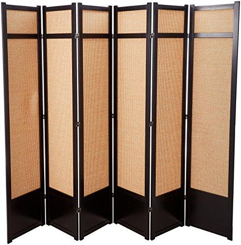 Hot Sale Oriental Furniture Better Workmanship Most Durable, 7-Feet Jute Fiber Privacy Screen Room Divider, 6 Panel Black