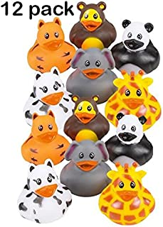 Kicko 12 Pack Zoo Animal Rubber Ducks 2 Inches Assorted Safari Animal Duckies - for Kids, Party Favors, Birthdays, Baby Showers, Bathtub Toys, Bath Time, Party Favors, and More