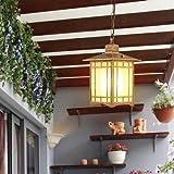 Waqihreu Decoración de Estilo japonés Pantalla Impermeable para Exteriores Techo Lámpara de suspensión Colgante de Aluminio Jardín Balcón Pasillo Pasillo Porche Araña E27