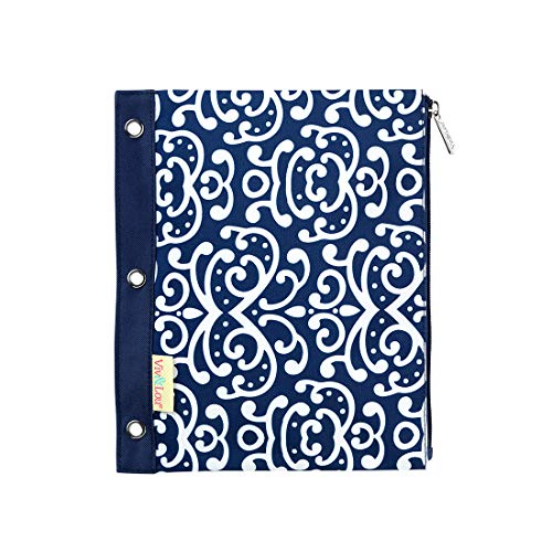 Dani Navy Blue Damask 11 x 9 Polyester Fabric Zip Binder Pouch Pencil Bag