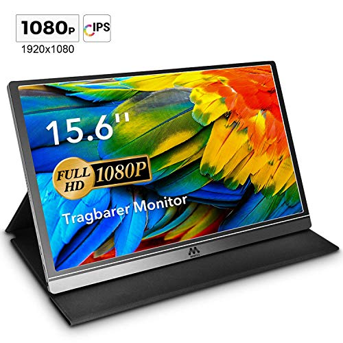 Tragbarer Monitor - 15,6 Zoll USB Monitor IPS Bildschirm Tragbar 1920×1080 Full-HD Portable Monitor mit USB-C / Typ-C Mini-HDMI für PC, Handy, Xbox, PS4 usw, mit Schutzhülle Displayschutz