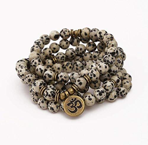 Natuurlijke steen Armband, Kralen Armband 108 Mode Yoga Energie Beaded Armband 8 Mm Wit Spot Natuurlijke Steen Tekst Hanger Top Ketting Elastische Kralen Armband Sieraden Gepersonaliseerde Kleding Accessoires