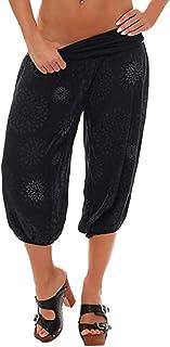 baa3e66a7e9 RISTHY Pantalones Anchos para Mujer 3/4 Harem Pantalones Bombacho Aladin  Harén Pantalón Boyfriend Baggy