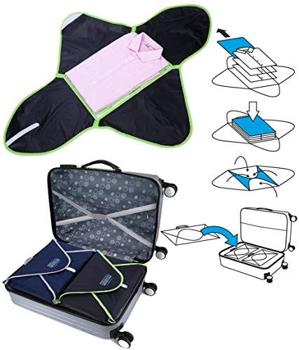 PRO Packing Professional Travel Garment Folder - Lightweight Carry-On Friendly Packing Cube w/See-Thru Mesh Screen Keeps Clothes Wrinkle Free, – Bonus Folding Board