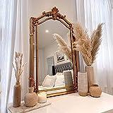 LIGUOYI Espejo para Pared Rectangular, Espejo Decorativo Vintage Dorado, Espejo De Marco De Madera para Maquillaje, Tallado A Mano, Moda De Lujo, para Casa, Dormitorio, Salón, Decoración