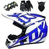 Motocross Casco Kids Set Boys Girls Quad Bicicletas BMX Bicycle MTB ATV Offroad DH Casco con Gafas Guantes Máscara,Blue-L:56~57cm
