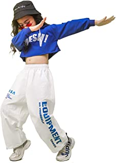 Girls' Hip Hop Costume 2 Piece Dance Outfits, Kids' Cropped Hoodie Joggers Pants Clothes Set