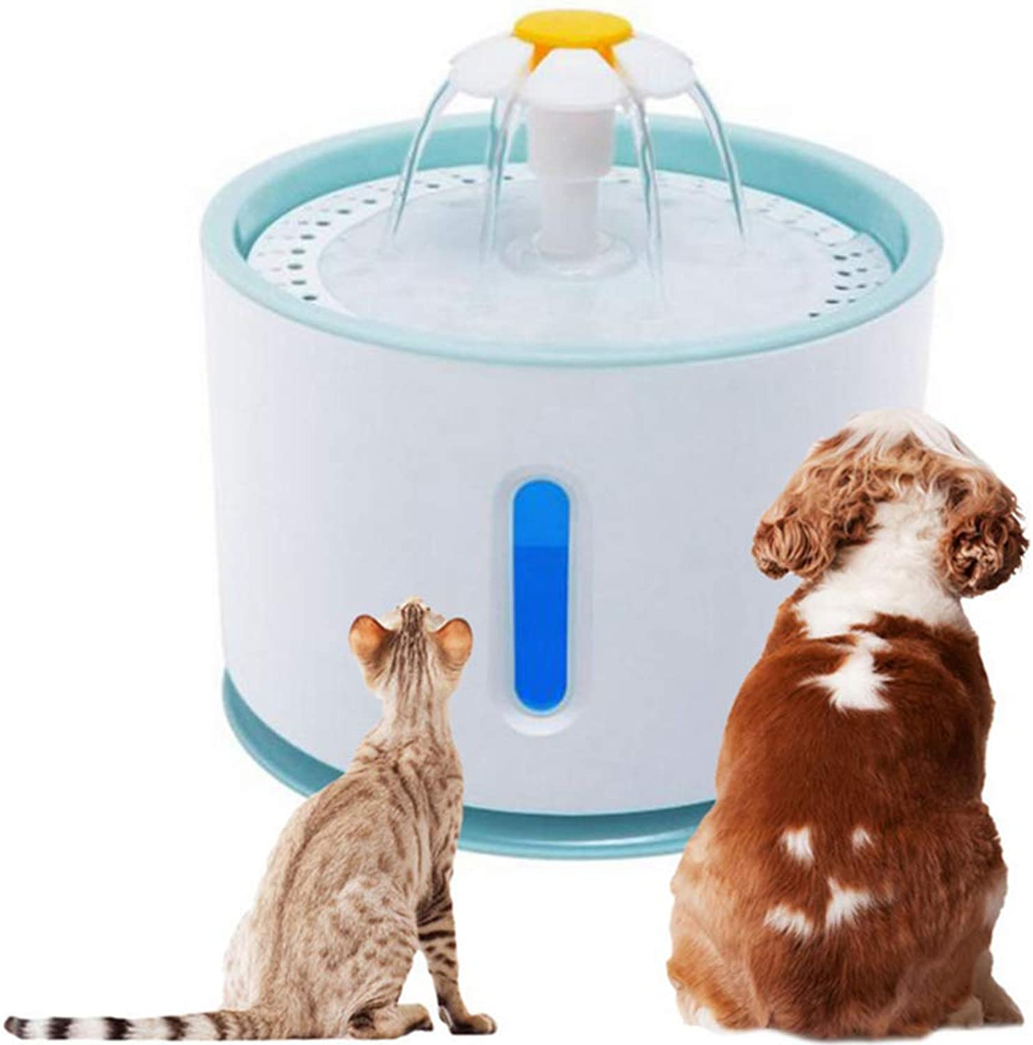 Pet Fountain, Ultra Silent Healthy and Hygienic Cat Waterfall Flower Style Fountain  2.4L Cat Fountain LED  3 Modes Drinking Fountain,B
