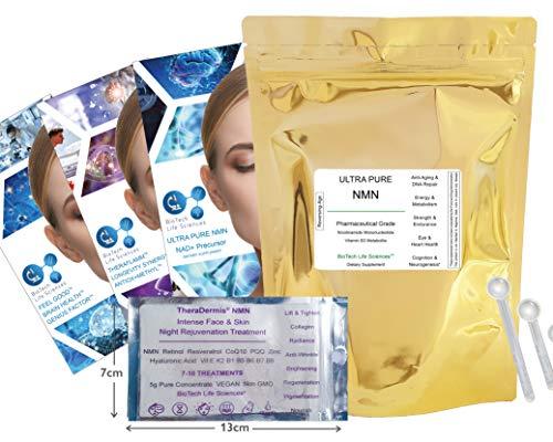 Face & Skin Rejuvenation Night, Anti-Aging Anti-Wrinkle Collagen Production, NMN CoQ10 PQQ Hyaluronic Acid Aloe Vera Resveratrol Retinol Zinc Biotin B5 B6 B7 B9-7 Day Sample (Face NMN pm 7)