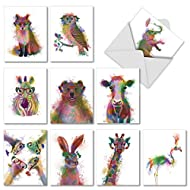 Funky Rainbow Wildlife, Box of 10 Blank Watercolor Note Cards with Envelopes - All Occasion Blank Greeting Cards - Cute Animal Thank You Notecard, Appreciation Stationery 4 x 5.12 Inch M4948OCB-B1x10