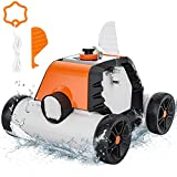 Robotic Pool Cleaner, Cordless Automatic Pool Cleaner, 5000 mAh Li-on Battery 90 mins Run Time, Dual-Motors with IPX8 Waterproof, Ideal for In-Ground/Above Ground Swimming Pool, Orange