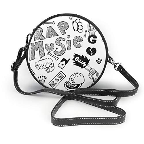 Rap Music Hip Hop Doodle Muster mit Rap Round Cross-Body Reißverschluss Schultertasche weiches Leder Kreis Geldbörse für Damen personalisiert