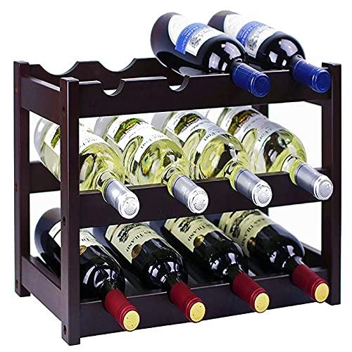 gzshengqi Estante de madera para vino, estante para vino, estante para vino, estante para vino, estante para vino, estante para vino – negro (3 niveles)