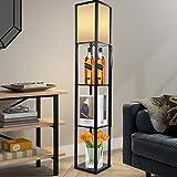Lámpara de pie de un color retro, elegante lámpara de pie de madera, lámpara de pie con estanterías para salón y dormitorio