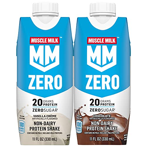 Muscle Milk Zero, 100 Calorie Protein Shake Bundle Pack, Chocolate & Vanilla Creme, 20g Protein, 11oz Cartons (24 Pack) (Packaging May Vary)