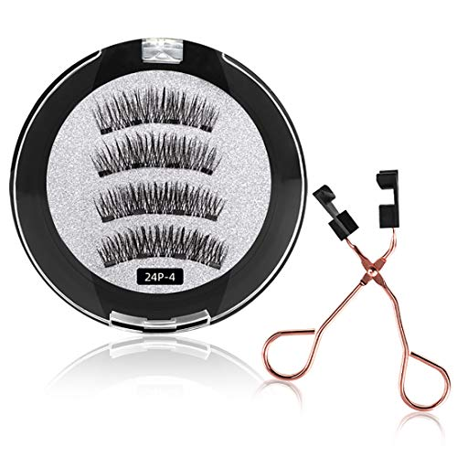 8D Quantum Magnetic Eyelashes with Soft Magnet,Soft Magnet Technology Dual Natural Lash,0.2mm Ultra Thin Magnet, Light Weight Reusable 3D Eyelashes 24P-4