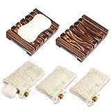 PAMIYO 2 Stück Seifenschale Holz Dusche+3 Stück Seifensäckchen, Natürliche Bambus...