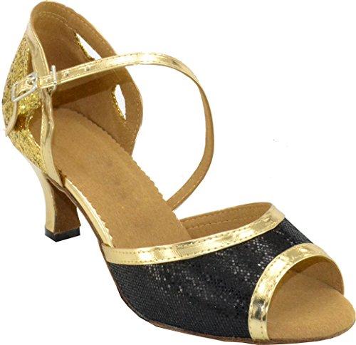 Chaussures de danse professionnelles pour femme confortables pour salle de bal Cha-cha - Or - doré, 39.5 EU