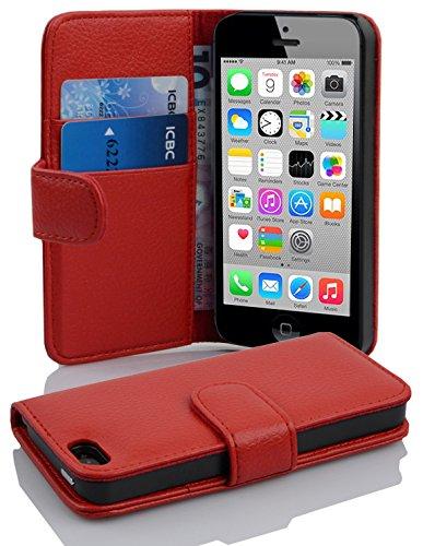 Cadorabo Funda Libro para Apple iPhone 5C en Rojo Infierno -