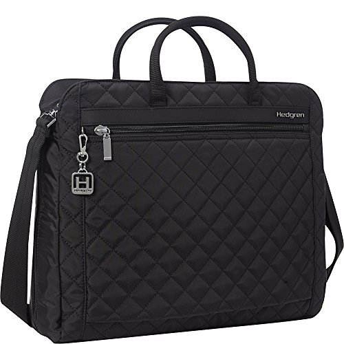 Hedgren Pauline Stylish Quilted Laptop Bag with Detachable Shoulder Strap, Organizer Panel, 15.6 Inch Laptop Pocket, 16 x 4.3 x 13.2 Inches, Womens, Black