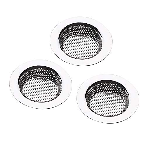 3-Pack Kitchen Sink Strainer Basket Catcher,Drain Stopper Hair Catcher,Stainless Steel Sink Drain Strainer,Dishwasher Safe,Wide Rim Perfect for Most Sink Drains,Shower Drain Cover for Bathtub