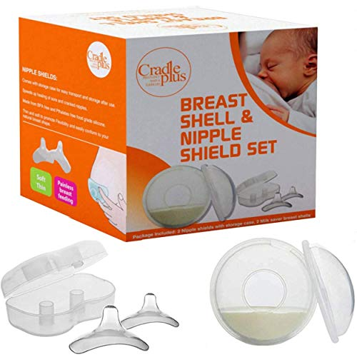 Nippleshield and Breast Shell for Breast Feeding | Nipple Shield in Storage case | Breastfeeding Essentials | Milk Savers or BreastMilk Catcher | Protects Sore Nipples & Collects Breast Milk Leaks