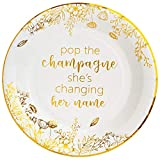 Crisky Bridal Shower Disposable Plates Gold Engagement Bachelorette Party Decorations Dessert, Buffet, Cake, Lunch, Dinner Disposable Plates Miss to Mrs Party Table Supples, 50 Count, 9 inches