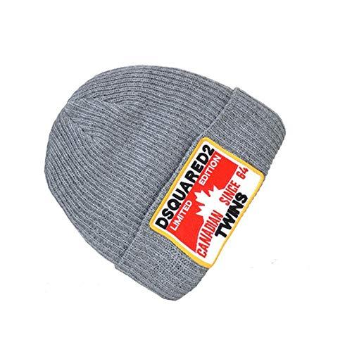 Hxxby Estilo Hombrecito de Punto clido Hombre de Punto Europeo y Americano Marca de Moda for Mujer All-Match Sombrero de Lana y Bufanda (Color : Gray)