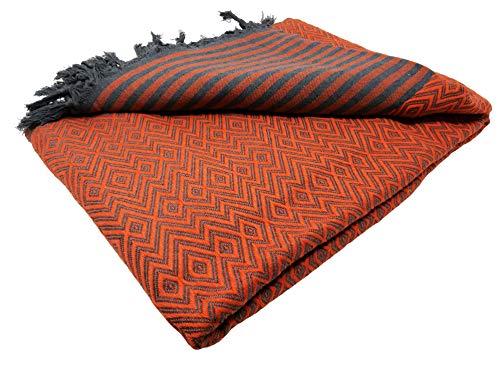 Bella Casa KELIM LUX Tagesdecke Bettüberwurf Überwurf Plaid Baumwolle 200x220 cm (Orange)
