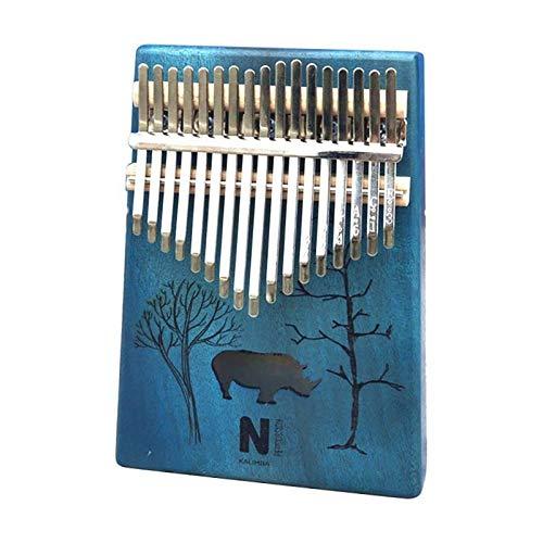 SFFSM 17 Teclas de Piano Kalimba Pulgar patrón de Dibujos Animados portátil de Madera de Caoba del Cuerpo del Instrumento Musical (Color : E)