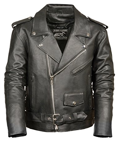 Event Biker Leather EL5411 Men's Basic Motorcycle Jacket with Pockets (Black, XX-Large)