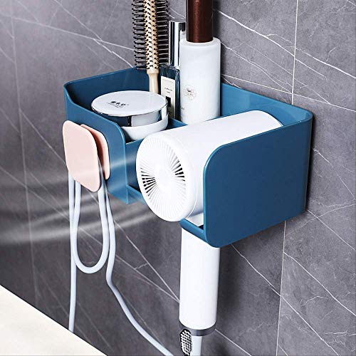 SADDPA Haardroger Houder, Muur gemonteerde Plastic Beugel Met Kabelbinder, Ophangrek Voor Badkamer Slaapkamer - Blauw Blauw