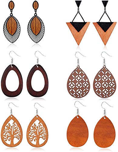 LOLIAS 6 Pares Madera Pendientes Colgantes para Mujer Africanos Pendientes Aro Colgantes Forma Lágrima Madera Natural Declaración Étnica Conjunto Pendientes Triangulares Ligeros Forma Hoja Aretes