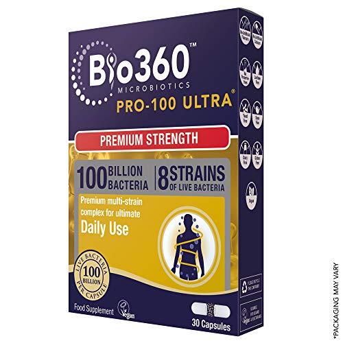 Bio360 Pro-100 Ultra (100 Billion Bacteria)|from Natures Aid | 30 Capsules