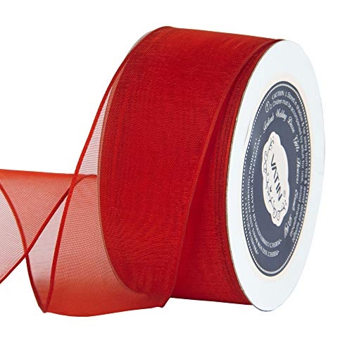 VATIN Christmas Ribbon Sheer Organza Wired Ribbon 1-1/2 inch 25 Yards (75Ft) -Hot Red,Perfect for Making Bows and Wreaths