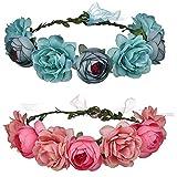 Yyshyi Corona de Flores Niña, 2 Piezas Corona de Flores Pelo, Diademas Flores para Mujeres Chicas Fiesta Boda Playa, Azul, Rosado