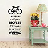 Inspiring Life is Like Riding A Bicycle Quote Bike Wall Sticker Cycling Words...