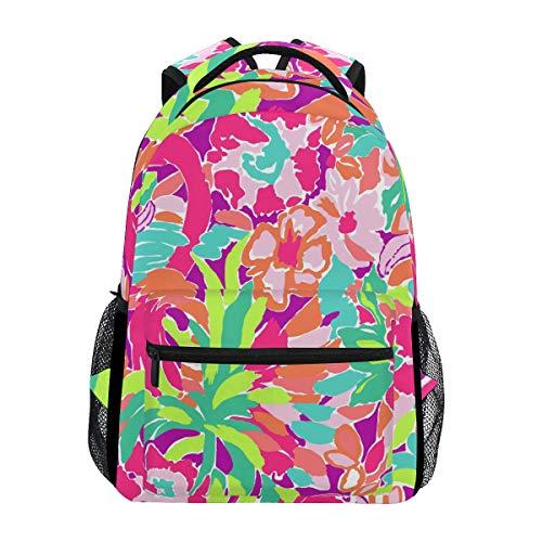 Lilly Pulitzer Flamingo-Rucksack, wasserdicht, für Schule, Schultertasche, Fitnessstudio, Rucksack, Blume, Rosa, Blätter, Laptop-Tasche, Outdoor, Reisetasche für Kinder, Jungen, Mädchen, Damen, Herren