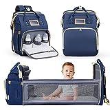 Nuliie Mochila para pañales cambiador, cuna portátil para bebés y niños, bolsas impermeables para bebés con bolsillos aislados y puerto de carga USB para viajes de bebés, Azul