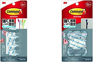 【セット買い】3M コマンド フック キレイにはがせる 両面テープ コード用 クリア Sサイズ 4個 CMG-S-CL & コマンド フック キレイにはがせる 両面テープ コード用 クリア Mサイズ 2個 CMG-M-CL