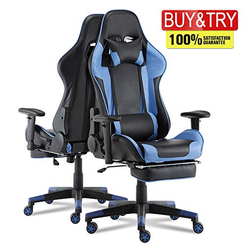 suwikeke Back Massage Gaming Chair with Footrest, Ergonomic High-Back Racing Chair Pu Leather Bucket Seat, Computer Swivel Office Chair with Headrest and Lumbar Support chair footrest gaming