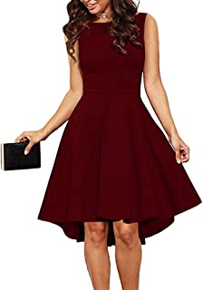 24bfe439a8b7c ReoRia Women Sleeveless Boat Neck High Low Cocktail Skater Swing Dress