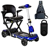 Drive ZooMe Auto-Flex Folding Travel Scooter, Blue & Free 130 dB Black Personal Safety Alarm/Siren! + Medical Utility Navy Blue Bag!