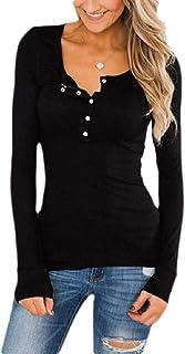 Macondoo Women's Long Sleeve Classic Blouse T-Shirt Button V Neck Henley Shirts