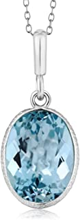 925 Sterling Silver Blue Topaz Pendant Necklace For Women 7.00 Ct Gemstone Birthstone, 14X10MM Oval Shape with 18 Inch Silver Chain