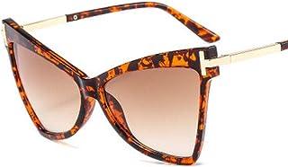 QPRER - Gafas De Sol,Marco Con Estampado De Leopardo Lente De Té Doble Moda Forma De Ojo De Gato Para Mujer Gafas De Sol Con Personalidad Europea Americana Gafas De Sol De Playa Decorativas En Forma De T
