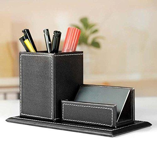 Papeterie Boîte de Rangement Porte-crayons Stylo Carte de Visite Business Cuir PU Organisateur de Bureau Maison (20*10*11cm, Black)